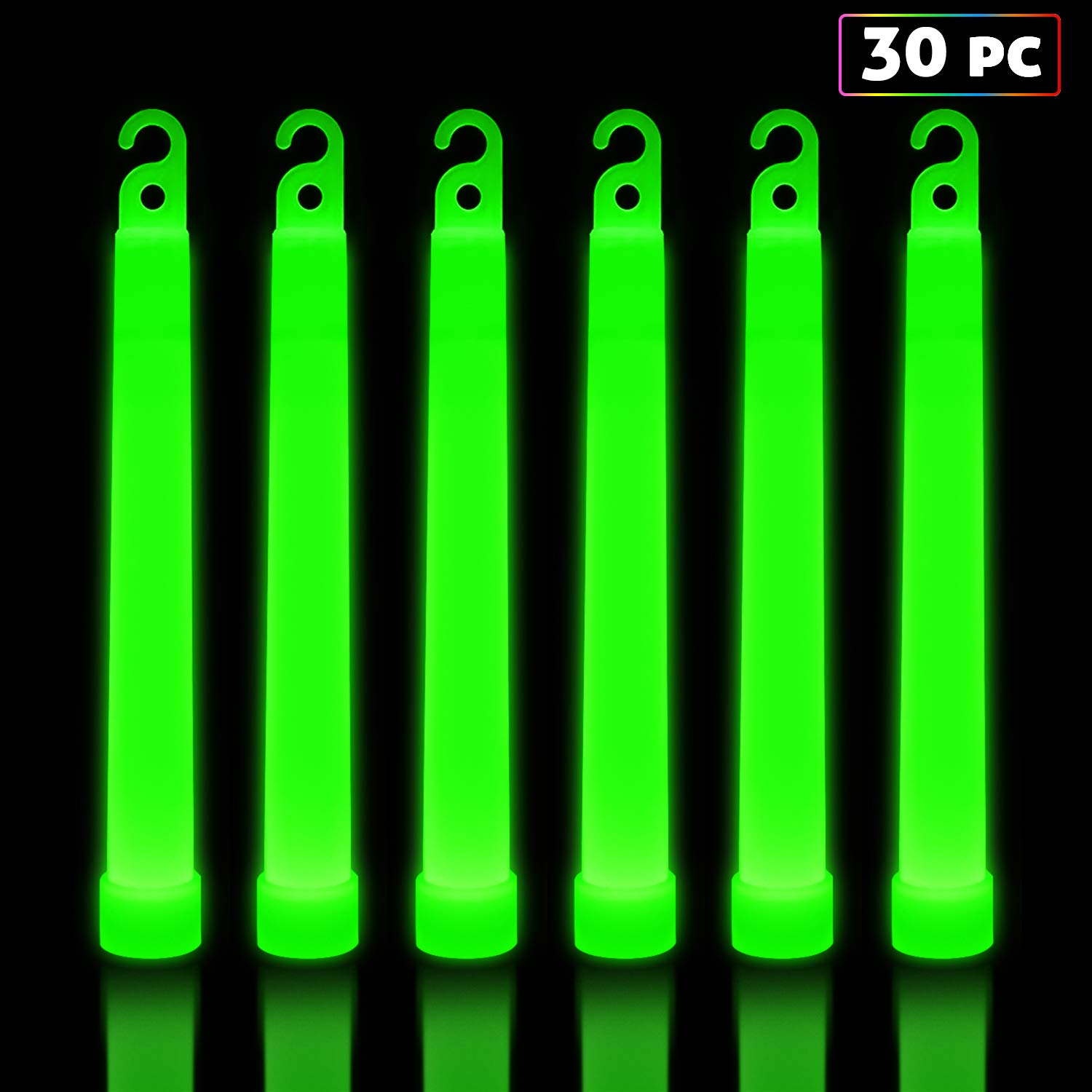 30 Pack Glow Sticks Bulk - Glow in The Dark Party Supplies - Waterproof and Non Toxic Neon Party Light Sticks for Kids and Adults (Green, 30 Pack)