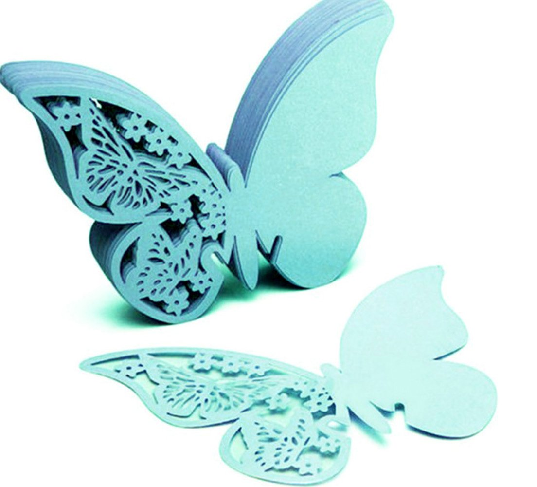 Better-Way 200pcs Butterfly Wedding Table Name Place Cards Wine Glass Party Decoration Centerpieces Seating Cards Table Name Cards Wedding Party Favor (Tiffany Blue)
