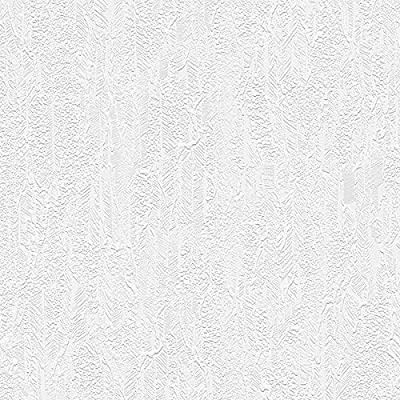 "Manhattan comfort NW48912 Victoria Series Vinyl Textured and Paintable Design Large Wallpaper Roll, 21"" W x 33' L, White"