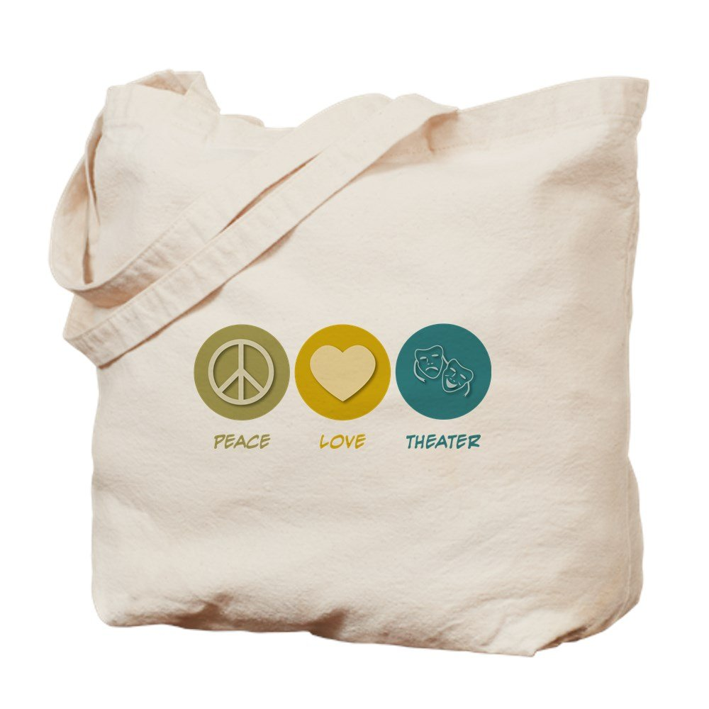 CafePress - Peace Love Theater - Natural Canvas Tote Bag, Cloth Shopping Bag by CafePress (Image #1)