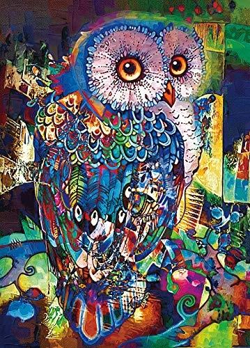 "RONSTONE Jigsaw Puzzles 1000 Pieces for Adults, Owl Puzzle, 27.6H × 19.7"" W Oil Painting Animal Puzzles for Education & Relaxation, Brain IQ Developing Magical Game"