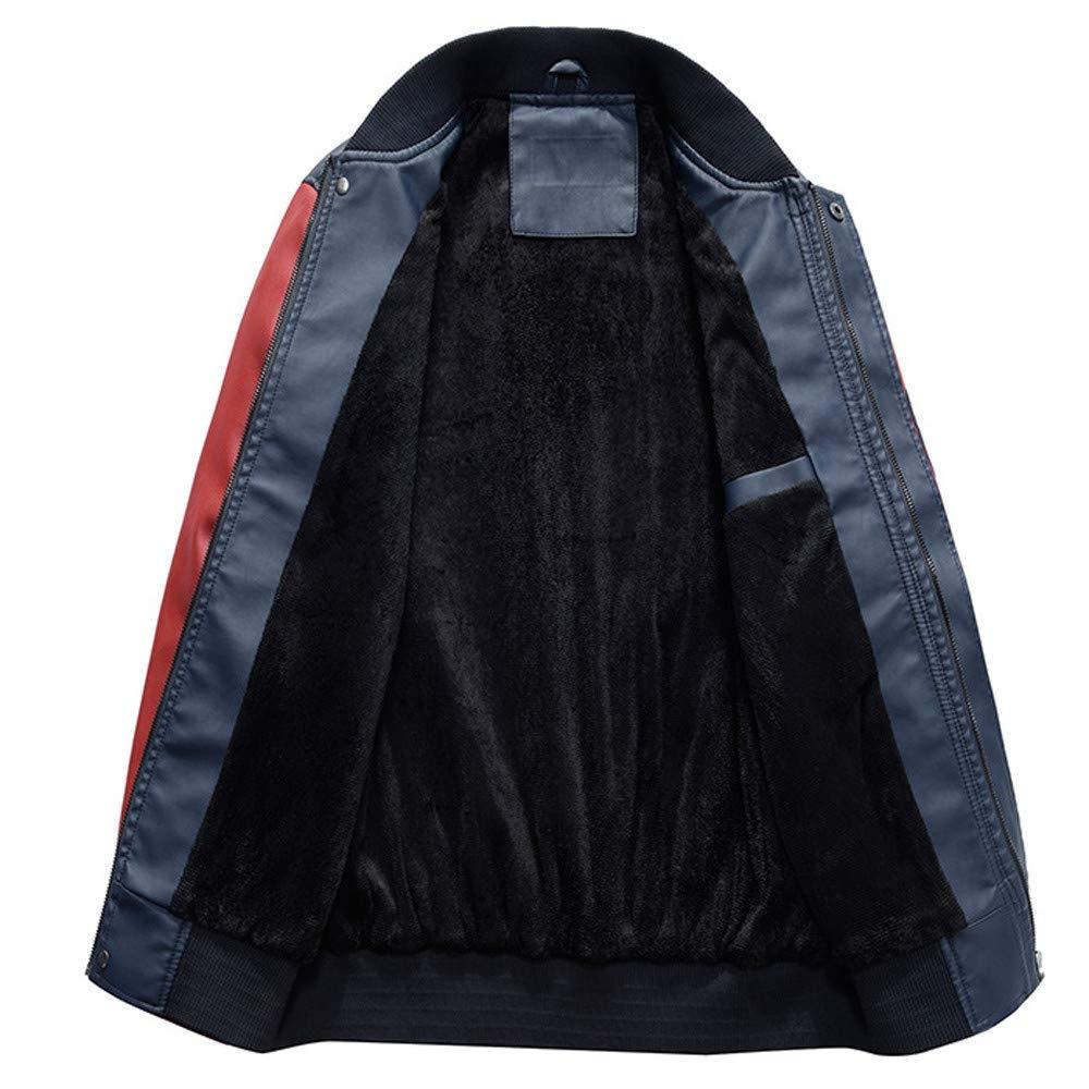 KEERADS Hommes Vest Casuel Cuir PU Teddy Baseball Blouson avec Doublure Manche Longue Fermeture /éclair Jackets