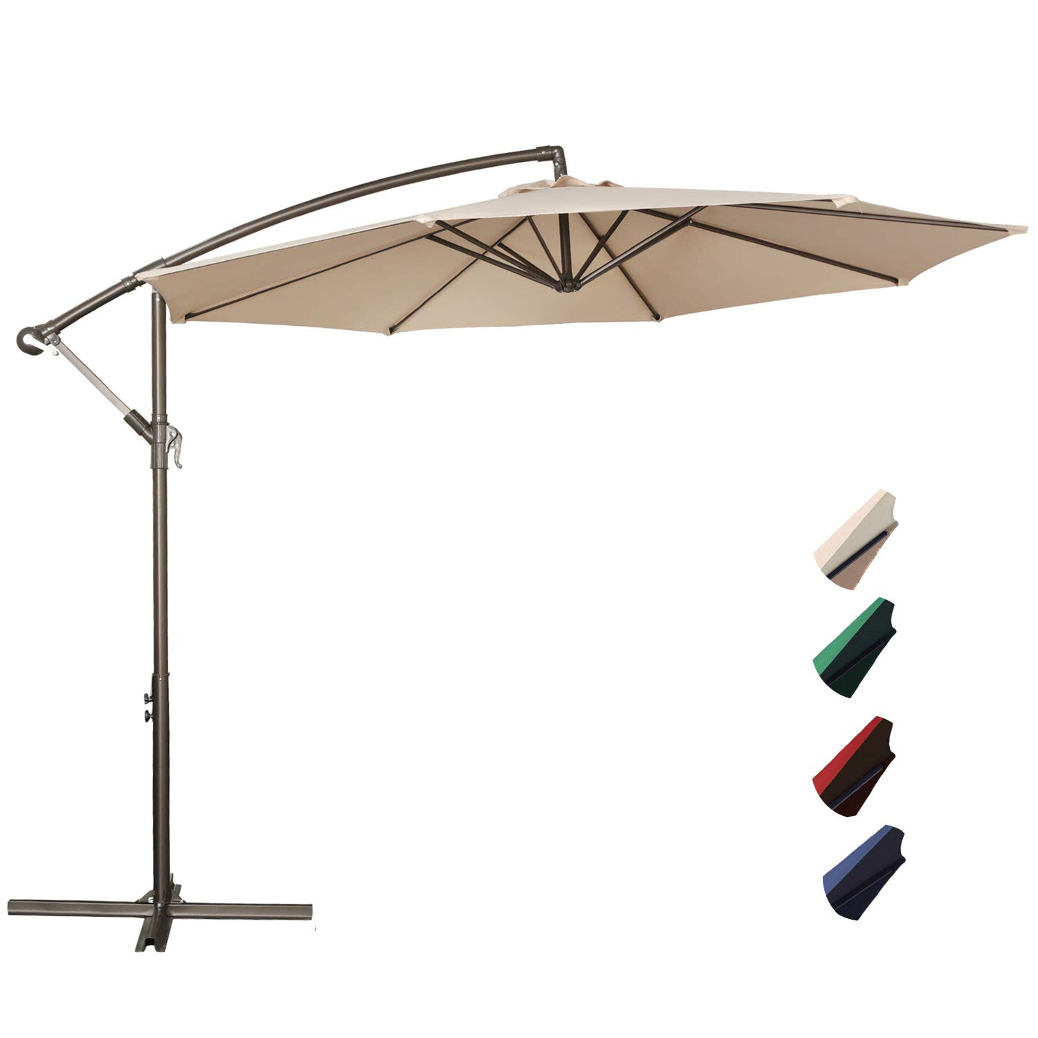 RUBEDER Offset Umbrella - 10Ft Cantilever Patio Hanging Umbrella,Outdoor Market Umbrellas with Crank Lift & Cross Base (10 Ft, Beige) by RUBEDER (Image #1)