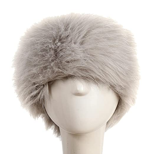 TAORE Womens Winter Hat Faux Fur Headband Cap Headgear Earwarmer Earmuff  Snow Hat (Gray) aaea9c38c65e