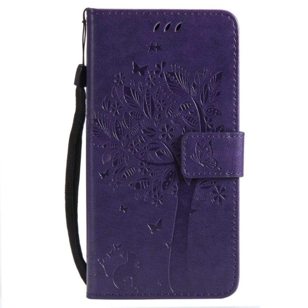 3D Tree Phone Cases for LG K3 K4 K5 K8 LTE Luxury Wallet Flip Leather Stand Cover for LG K 3 4 5 8 Cartoon Cat Coque Card Solts,Lavender,for LG K8