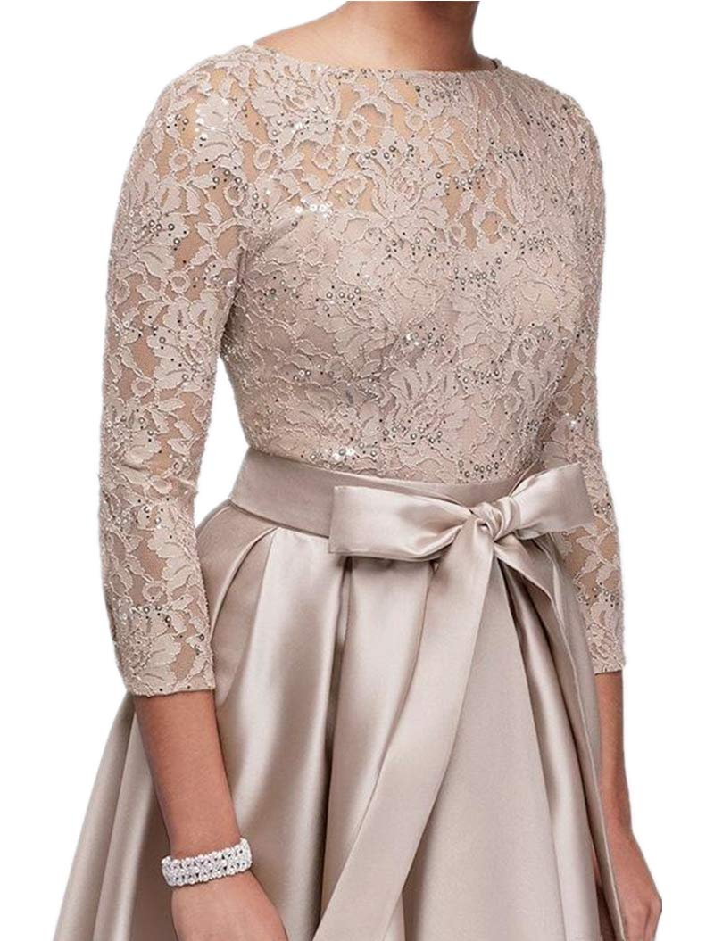 kxry Women\'s High Low Plus Size Mother of The Bride Dress Champagne Lace  Formal Evening Prom Party Gown