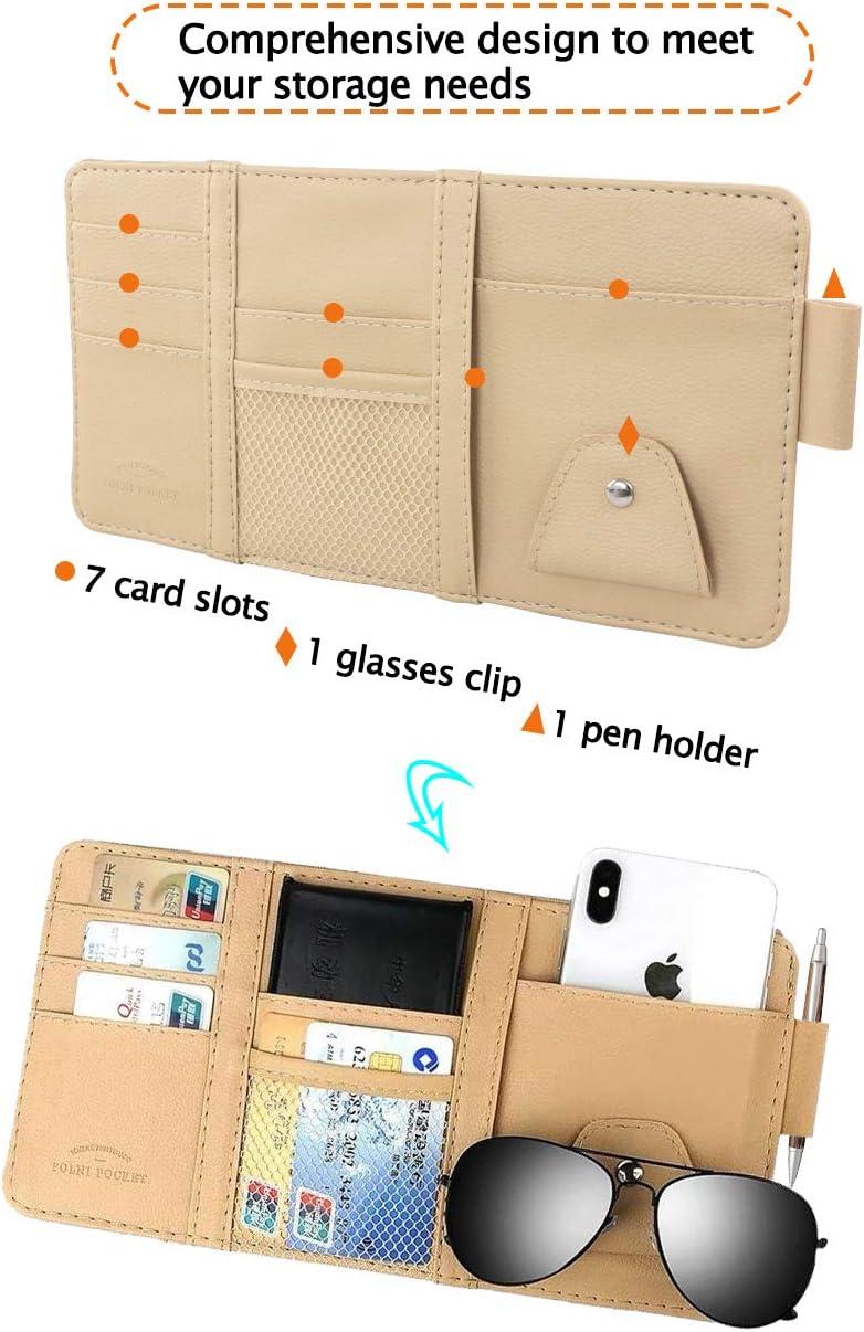 penne occhiali Yolistar organizer multiuso per aletta parasole dell/'auto,supporti per occhiali da sole da auto clip per carte di credito,per riporre tessere clip