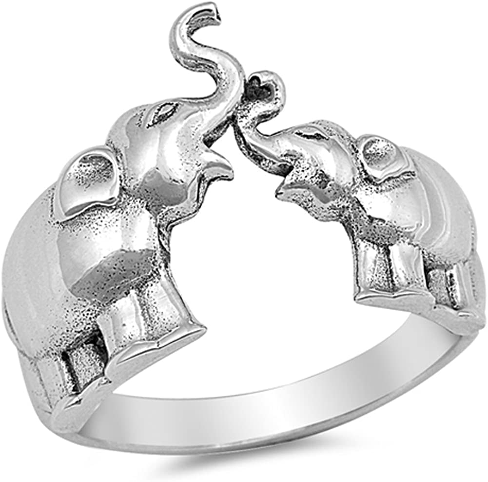 Elephant Animal Ring New .925 Sterling Silver Band Sizes 4-10