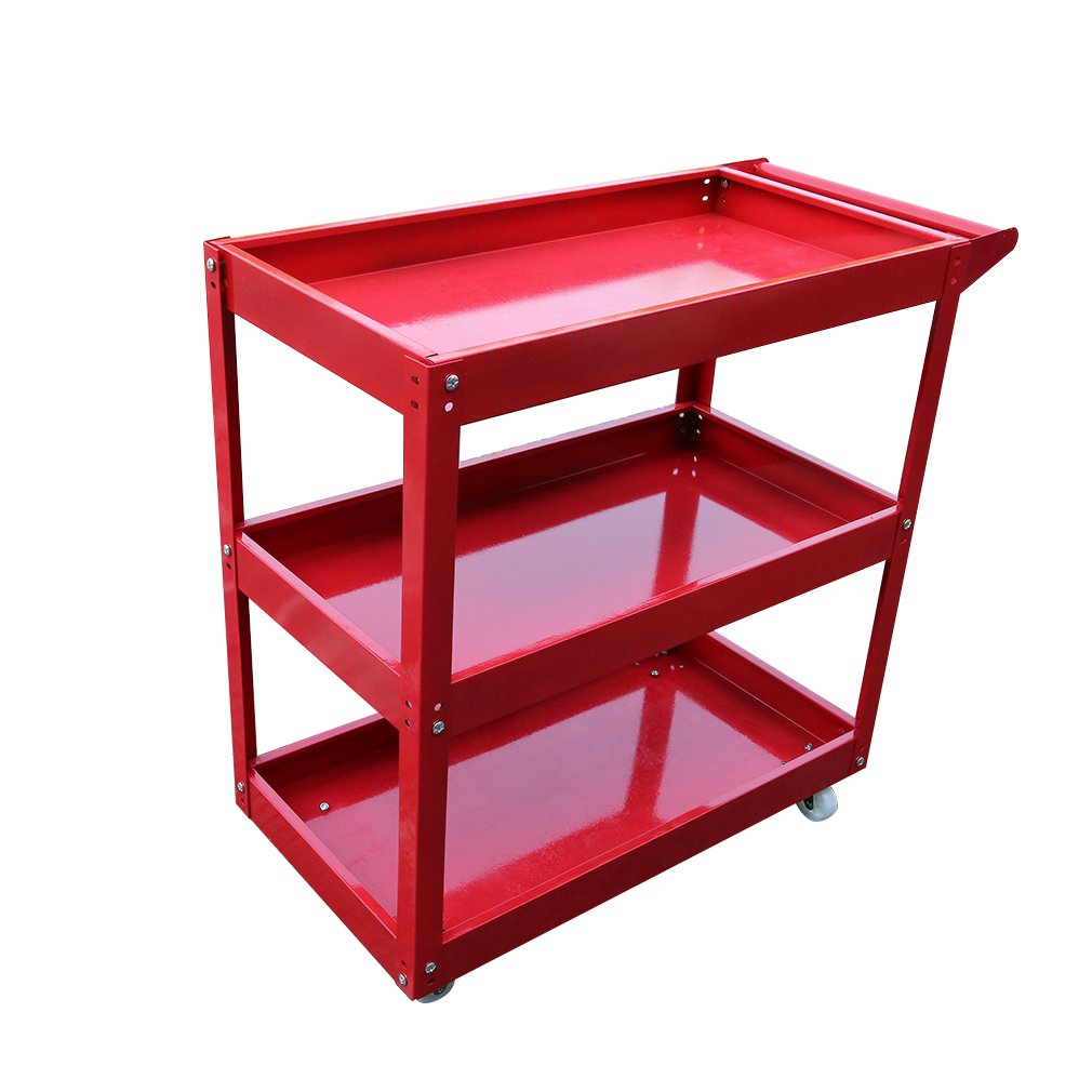 3 Tiers Home Garage Workshop Trolley Transport Tool Cart DIY Metal Tool Box Chest Cabinet Portable Rolling Storage Wheel Cart High Performance
