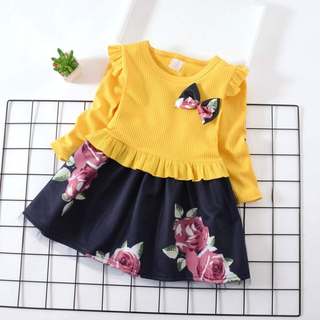 Toddler Baby Girls Cotton Long Sleeve Bowknot Floral Ruffle Casual Princess Fall Winter Dress Size:18M, Yellow