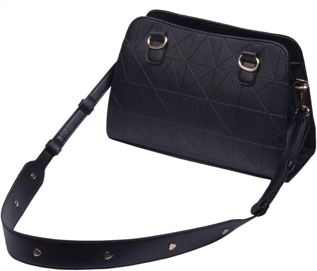 Beaulegan Wide Leather Studded Purse Strap Replacement for Shoulder Crossbody Bag Black