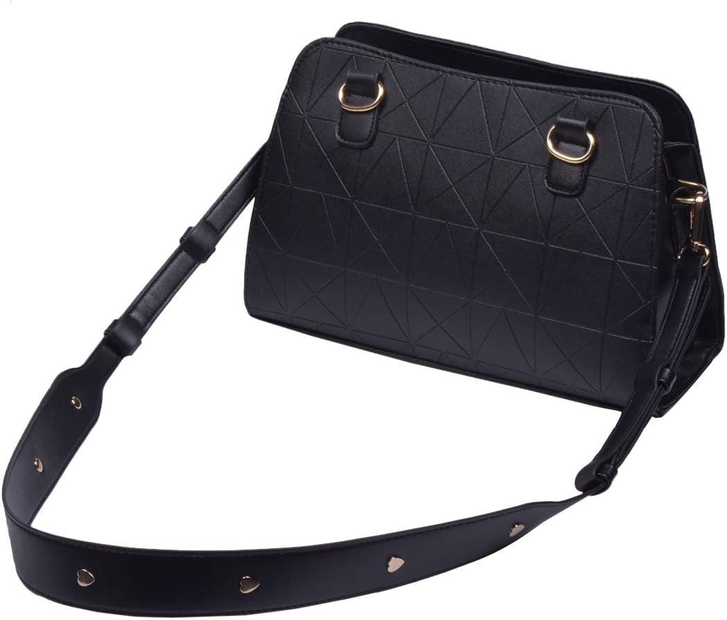 Beaulegan Wide Leather Studded Purse Strap Replacement for Shoulder Crossbody Bag Black