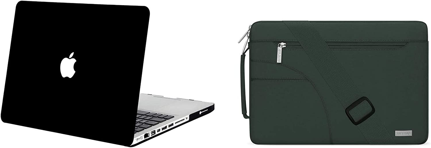 MOSISO Plastic Hard Shell Case Cover & Shoulder Bag with Side Handle Only Compatible with Old Version MacBook Pro 13 Inch A1278 with CD-ROM Release Early 2012/2011/2010/2009/2008