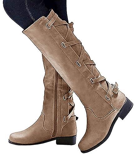 Classiques Lacer Dos Cuir Femme Le Rétro Lacets Boots Bottes Minetom n0X8wkONP