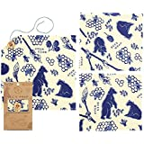 Bee's Wrap Lunch Pack, Eco Friendly Reusable Sandwich & Food Wrap Set, Sustainable Plastic Free Lunch Organizer - Includes 1 Sandwich Wrap, 2 Medium Food Wraps in Bees + Bears Print