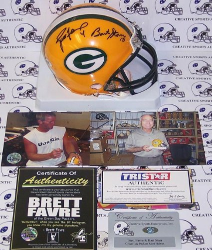 Bart Starr & Brett Favre Autographed Hand Signed Green Bay Packers Mini Football Helmet - PSA/DNA