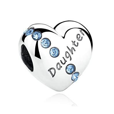 701cf2d98a954 Heart Shaped Daughter Charm Bead inscribed 'DAUGHTER' - 925 Sterling Silver  - fits Pandora, Biagi & Troll etc