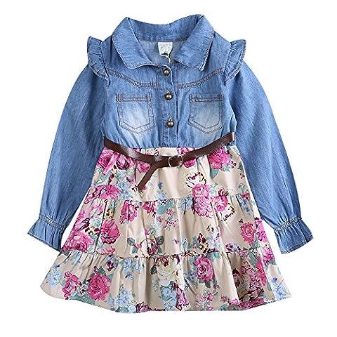 Kid Baby Toddler Girls Autumn Long Sleeve Denim Top Floral Skirt Mini Dress Outfits (4-5 Years, - Girls Pink Floral Denim