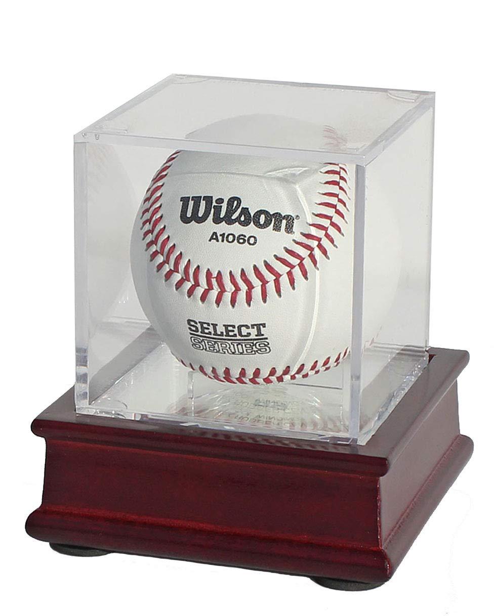DisplayGifts Pro UV Baseball Display Case Holder Stand (Cherry)