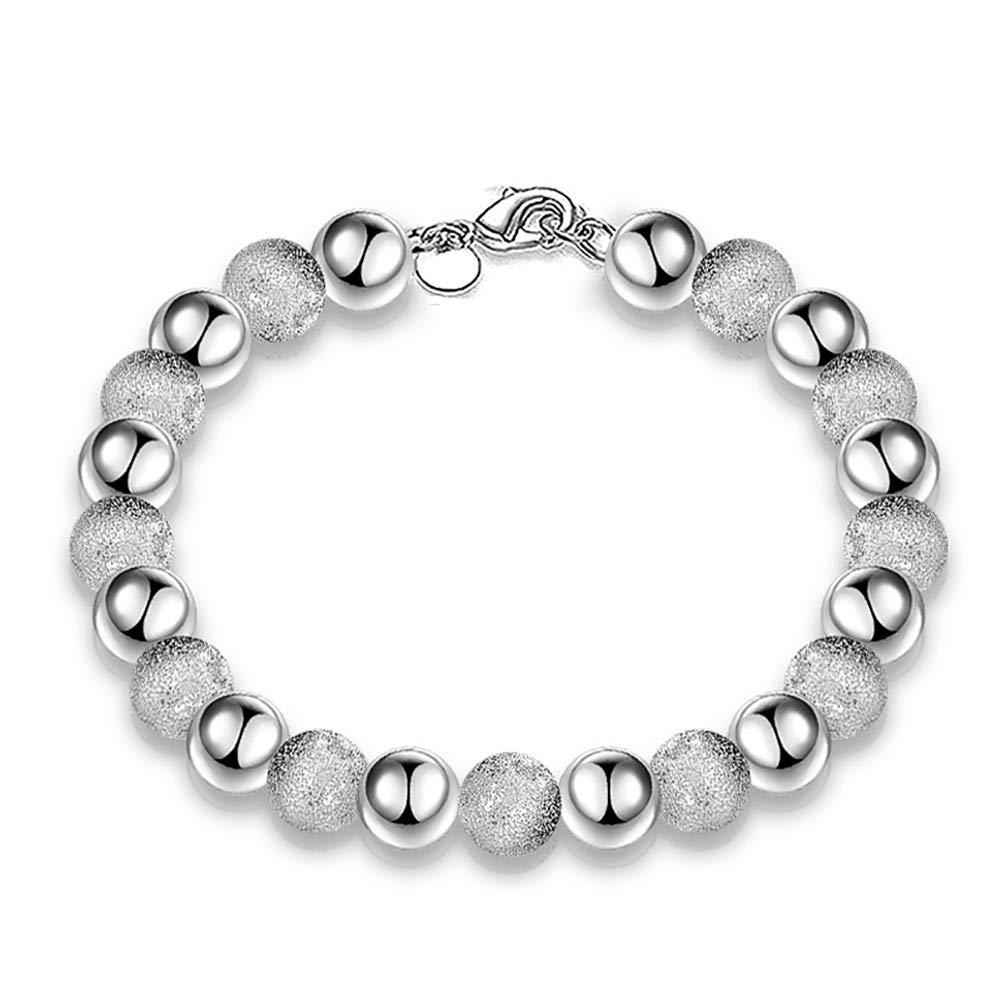 meiyuan Fashion Women 8mm Glossy Embossed Beaded Bracelet Bangle Jewelry Wrist Decor Silver