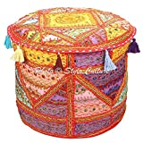 Stylo Culture Indian Floor Pouf Cover Round Embroidered Mirror Patchwork Pouffe Ottoman Cover Multicolored Cotton Abstract Traditional Furniture Footstool Seat Puff Cover (22x22x14)