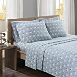 Comfort Spaces - Ultra Soft And Cozy Printed Snowmen 100% Cotton Flannel Sheet Set - 6 Piece - Cal King - Grey - Includes Fitted Sheet, Flat Sheet and Pillow Case