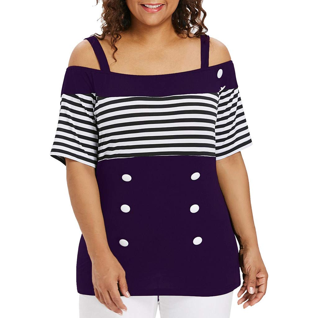 Coedfa Tops for Women Plus Size Fashion Off Shouder Summer Stripe Short Sleeve Button T-Shirt Tops Purple