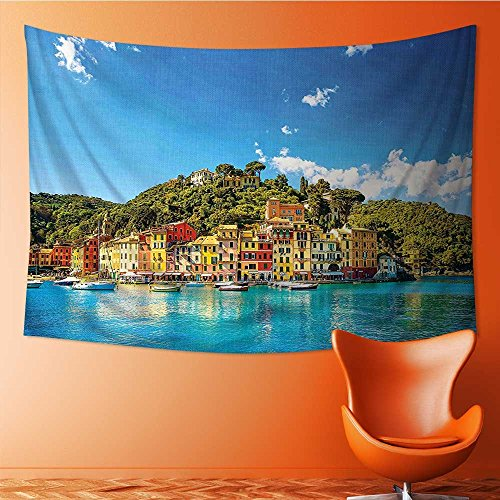 Art Decorative Village Mediterranean Town by the Sea Portofino Harbor Panorama Blue Green Wall Hanging Bedspread multi purpose tapestries 60W x 40L (Portofino Tapestry Wall Hanging)