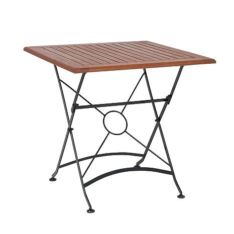 greemotion Table de jardin pliante Borkum – table de jardin 2 personnes –  table pliante d\'appoint – table métal pliante – table bois et métal –  petite ...
