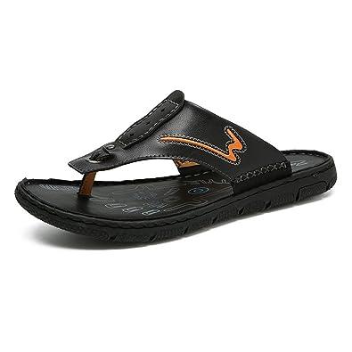 Easy Go Shopping Hommes Tongs Occasionnels Chaussures en Cuir PU Pantoufles de Plage Anti-Dérapant Souple Sandales Plates, Sandales à Bascule pour Hommes (Color : Black, Size : 39 EU)