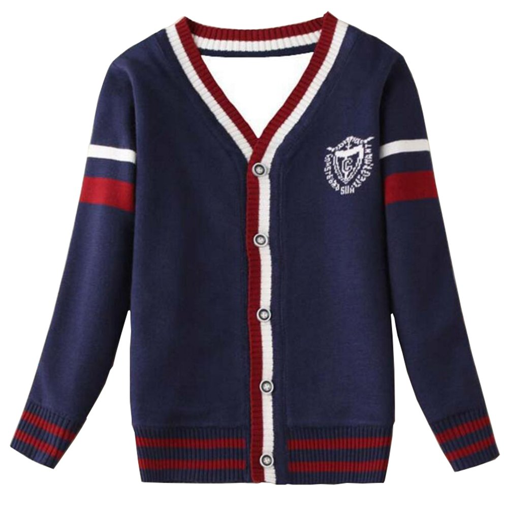 Long Sleeve Outerwear cardigan sweater kids Clothing Cotton Double V-neck Thick Knit Sweater Unisex Kids Coat (7-8t, dark blue)