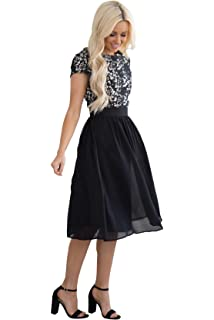 652a6fd3737 Mikarose Addison Modest Dress in Black Lace at Amazon Women s ...