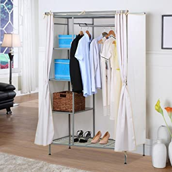 Yahee Kleiderschrank Garderobe Stoff Schrank Schlafzimmer Metall für ...