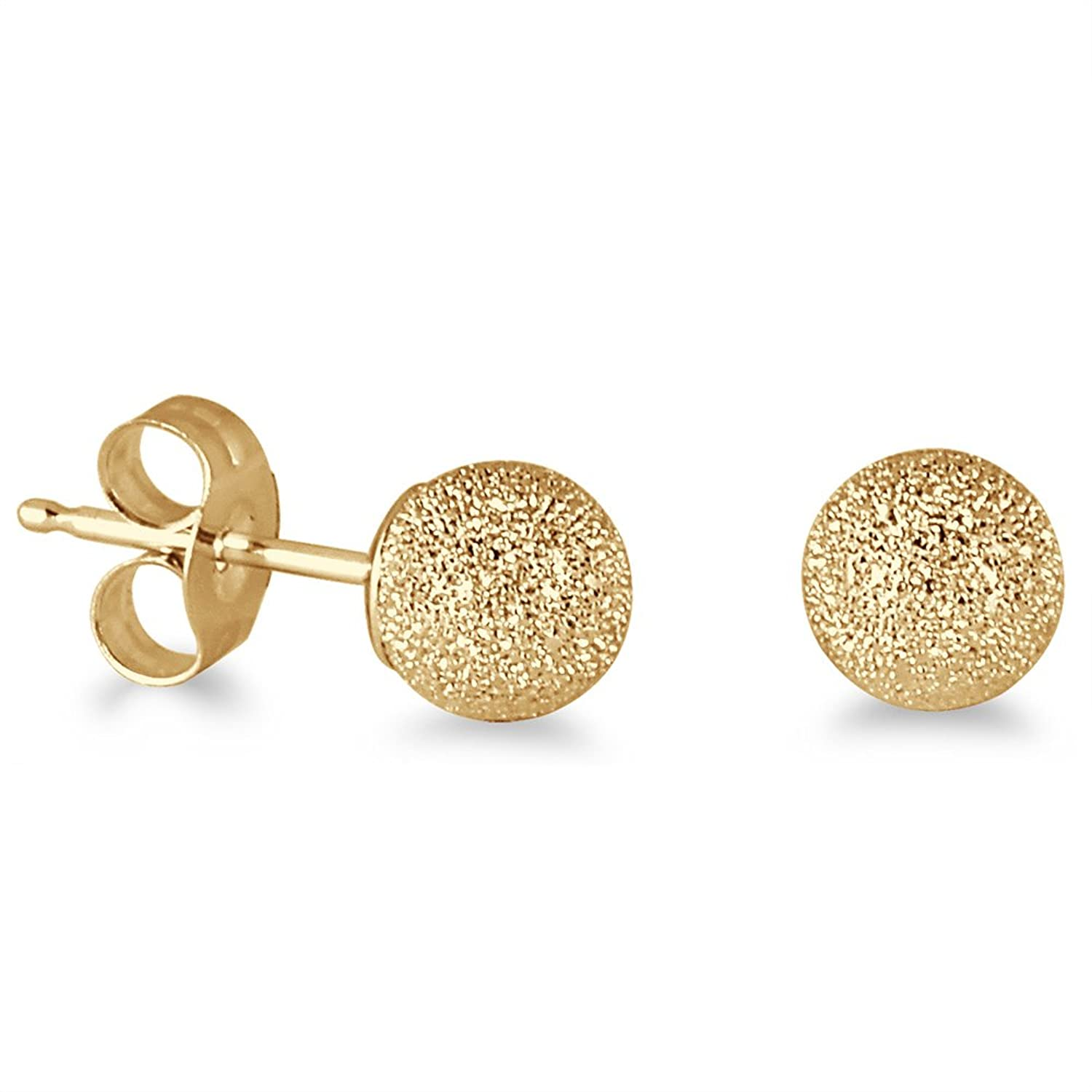 Amazon 14K Yellow Gold 5mm Laser Cut Ball Stud Earrings Jewelry