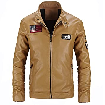 Hombre y niños piloto chaqueta piel,Sonnena ⚽ hombre casual chaqueta de manga larga invierno ciclistas chaqueta cuero collar del soporte cremallera ...