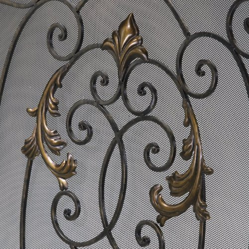 (Rust With Gold Accents 32.25In. French Fire Screen 01351)