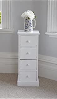 White slim narrow bedside cabinet 3 chest of draws drawer bathroom tall white wooden four drawer storage unit watchthetrailerfo