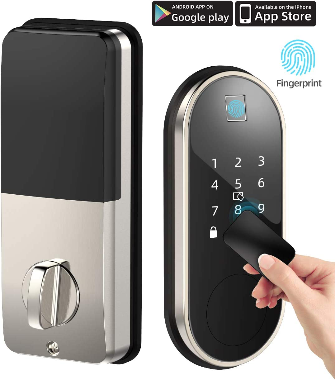 Smart Lock with Deadbolt, Keyless Entry Door Locks with Deadbolts, Smart Doors Locks with Electric Deadbolt Touch Screen Keypads, Working with Alexa and Google Home