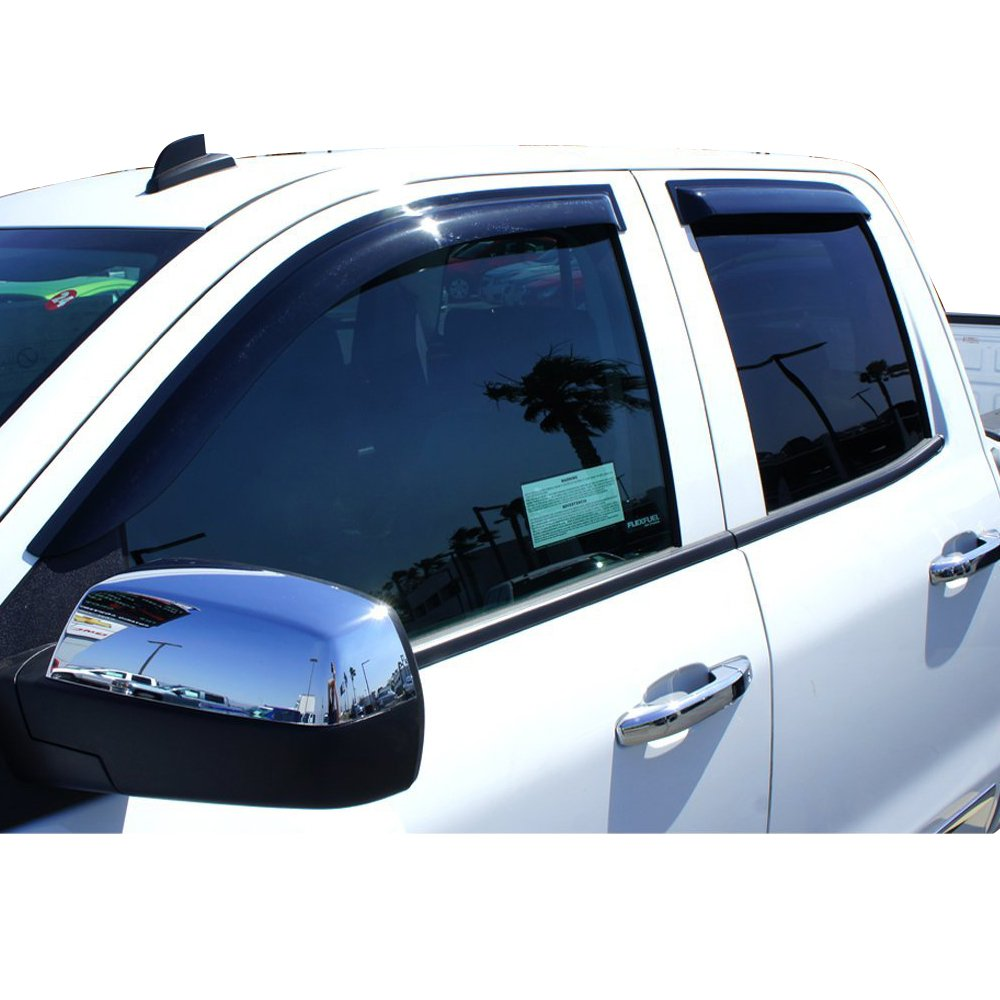 2015 2016 2017 Dark Smoke Acrylic Window Visor Wind Sun Rain Vent Guards 4PC By IKON MOTORSPORTS Window Visors Fits 2014-2018 Chevy Silverado 1500 2500 3500 GMC Sierra