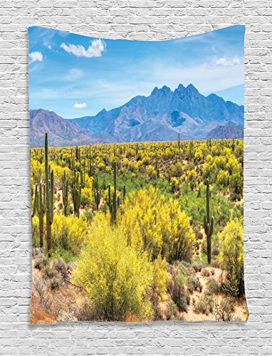 Ambesonne Saguaro Cactus Decor Collection, Blooming Palo Verdes and Saguaros at Four Peaks Foothills near Phoenix Arizona Image, Bedroom Living Room Dorm Wall Hanging Tapestry, Blue