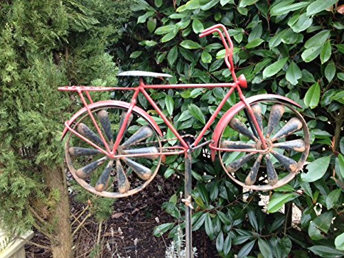 Tricycle/Bike Garden Ornament/Sculpture With Windmill Wheels, Metal (Red)