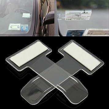 Calistouk Soporte Pinzas con cinta adhesiva para parabrisas para colgar etiquetas clip de coche o permisos de coche (2 unidades): Amazon.es: Coche y moto