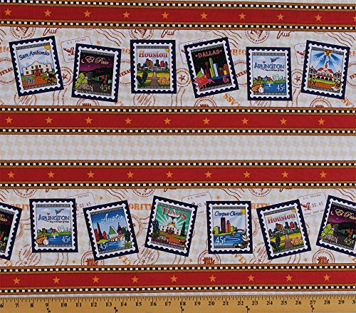 Cotton Quilt Across Texas U.S. Postage Symbols Stamps Mail Texas Cities (4 Parallel Stripes) Cotton Fabric Print by the Yard - Us City Texas