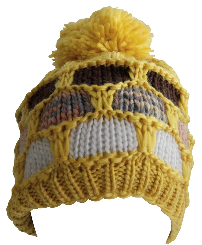 Attleya, Damen, Herren, Mütze, Unisex, Wintermütze, Gelb, Weiß, Grau, Kunstfell, 100% Acryl, Ski-Mütze mit Bommel