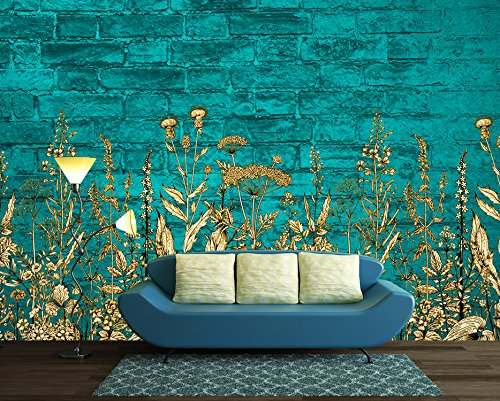Large Wall Mural Light Blue Flowers on Teal Color Brick Wall Background Vinyl Wallpaper Removable Wall Decor