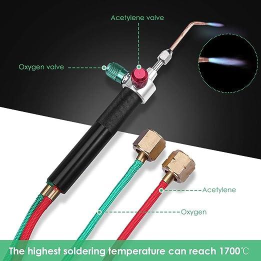 Matefield Pistola de acetileno oxigenada de oxígeno para el kit de soldadura de gas mini antorcha pequeña para metal: Amazon.es: Bricolaje y herramientas