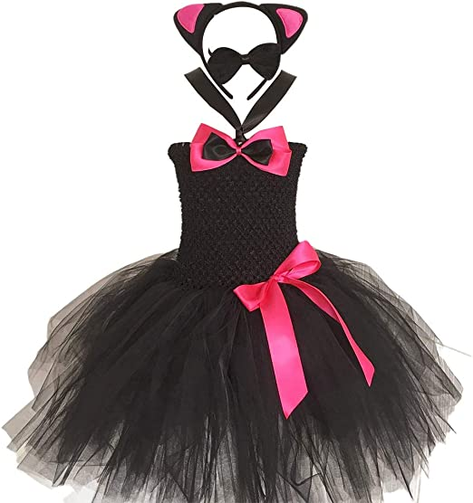 JOYKK Girls Cat Cosplay Disfraz Set Tulle Tutu Dress Orejas ...