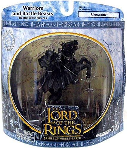 2003 - New Line / Play Along - Lord of the Rings : Armies of Middle Earth - Ringwraith (On Rearing Horse) - Warriors & Battle Beasts - Battle Scale Figures - Out of Production - Limited Edition - Collectible