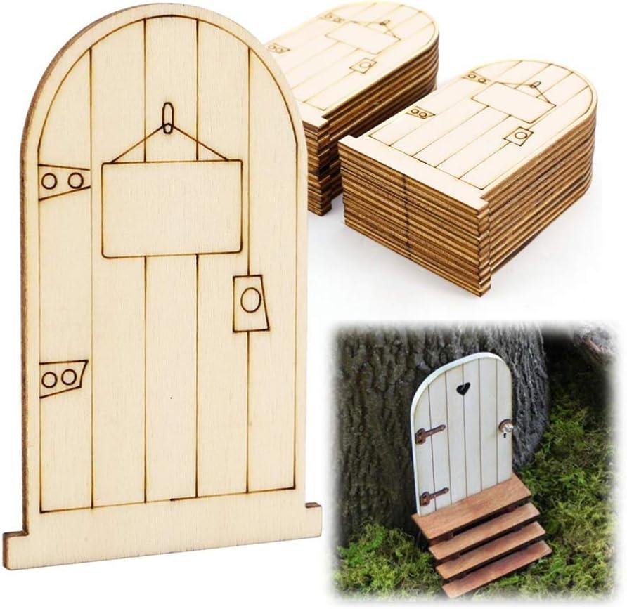 decoraci/ón de manualidades proyectos de arte Garneck 50 mini puerta de hadas de madera para jard/ín de hadas en miniatura