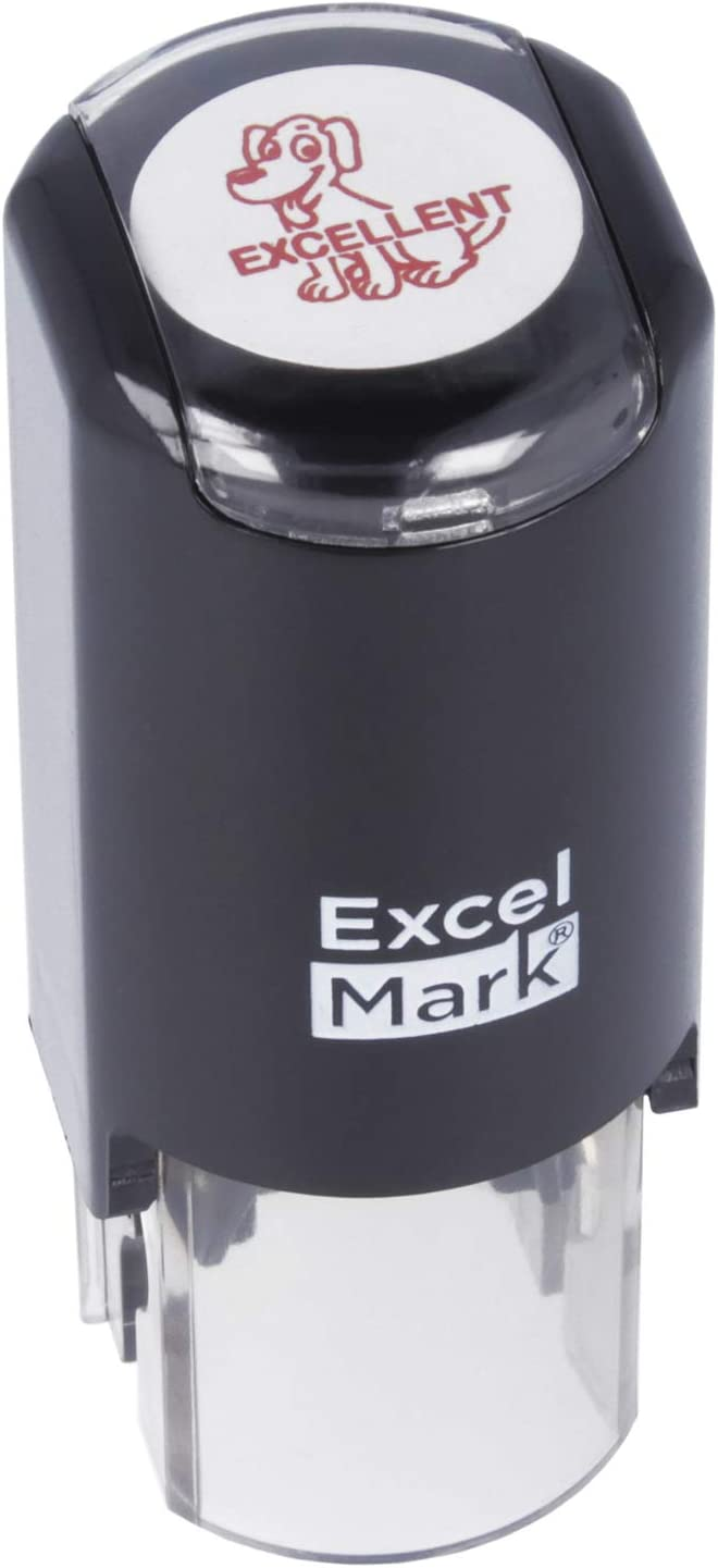 Excellent Dog - ExcelMark Self-Inking Round Teacher Stamp - Red Ink